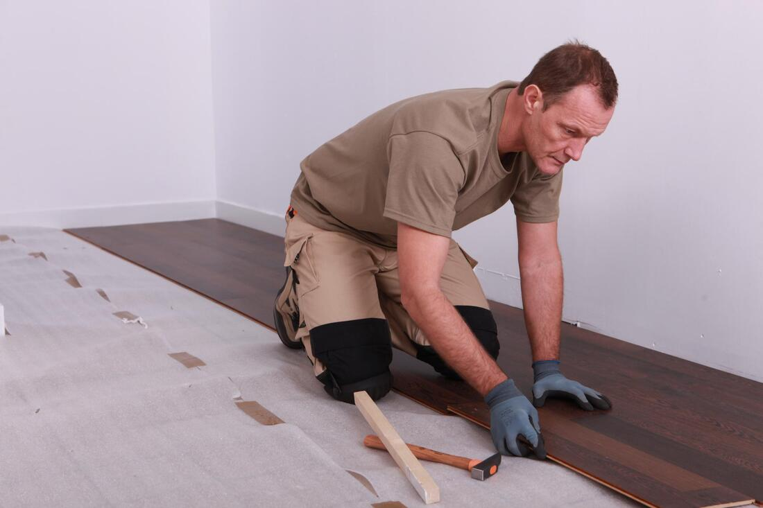 hardwood flooring installation in progress